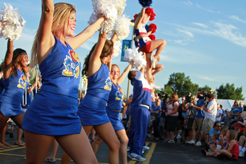 The cheerleaders and spirit squad pumped up the crowd at the KU Kickoff at Corinth Square.