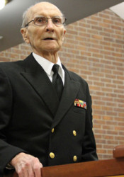 "Pearl Harbor survivor Jesse Dunnagan appeared before the Prairie Village City Council after they declared Dec. 7, 2011, ""Jesse Dunnagan Day."""