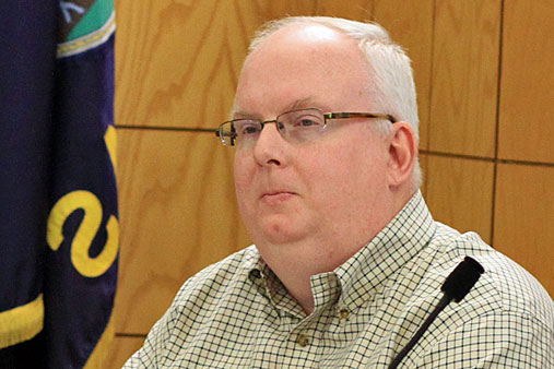 Councilor David Morrison listened as the city attorney detailed the allegations against him in November  2012.