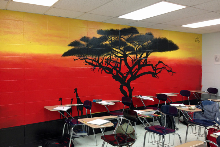 Some students irked by plans to paint over reproduce for African sunset wall mural