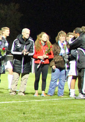 SM East senior soccer players and their parents took part in a ceremony on the field after the final regular season game Thursday.