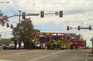 Emergency crews responded to an accident at 75th and Mission. Reader provided photo.
