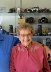 Clarence and Betty Gass in their Johnson Drive repair shop.