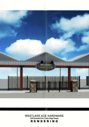 The architectural rendering of the new garden center structure for Westlake Ace Hardware.