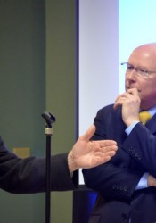 Dale Dennis, Deputy Commissioner of Education in Kansas (L), responds to a question from moderator Nick Haines (R) during the MainStream forum on education.