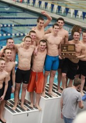 SM East's swim and dive team celebrated its second-place showing at state. Photo courtesy SM East swim and dive team.