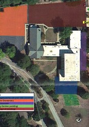 An overhead view showing the proposed addition of a playground to the Cherokee Christian property.
