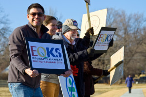 Michael Poppa helped organize an Equality Kansas demonstration in March showing support for the proposed anti-discrimination ordinance. On Tuesday, Roeland Park residents elected him to the city council — though the close vote tally is not yet final.