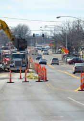 The cones were out again as sewer work continues on the east end of the Johnson Drive project and lanes were narrowed.