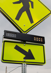 New Rectangular Rapid Flashing Beacons at Weltner Park are designed to improve pedestrian safety along Cambridge Drive.