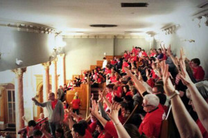 Teachers packed the gallery in the Kansas House to protest the education bill that stripped them of some of their tenure rights. Photo via Twitter, Devin Brick Wilson (@ksucats96).
