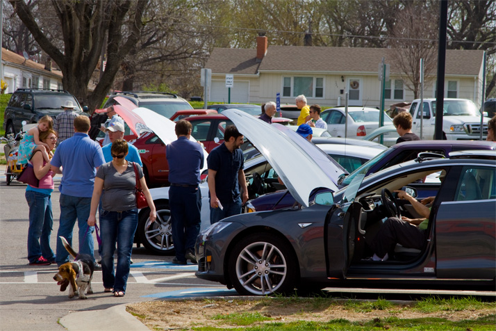 Recently the Earth Fair has featured a parking lot full of hybrid and electric vehicles.