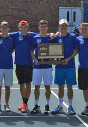 Kansas City Christian's boys tennis team celebrates its 3-2-1A title in Goddard. Photo via KCC Athletics Twitter.