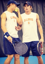 Ross Guignon, right, and his doubles partner at the University of Illinois. Guignon is competing in a U.S. Open pre-qualifier at Homestead Country Club today.