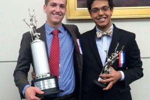 Henry and Ali with their top speaker awards.