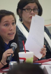 Megan England, seen at a Roeland Park forum in 2014, has filed to run as a Democrat for the District 7 Senate seat.