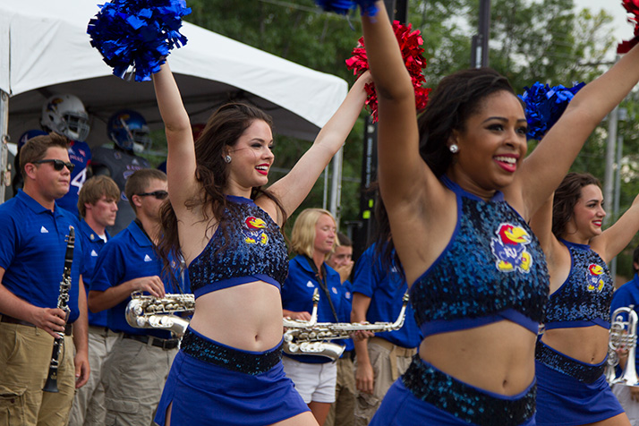The KU cheerleaders pumped up the crowd before members of the athletics department got on stage.