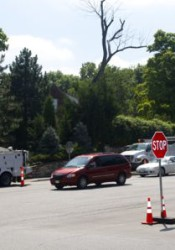 Rainbow and Shawnee Mission Parkway was a four-way stop Sunday as crews did scheduled work on the signals.