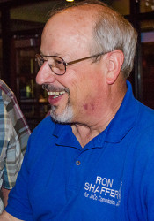 Ron Shaffer greeted supporters at an election party Tuesday night.