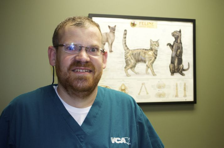 Tom Belancio at his job at Mission MedVet.