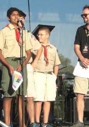 Bhavish Dinikar got a chance to ask the crowd at the Prairie Village Jazz Fest for help with his Eagle Scout project finding guitars to donate to Warrior Cry.