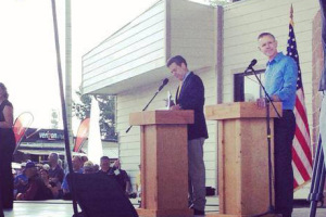 Sam Brownback and Paul Davis had their first debate at the Kansas State Fair Saturday. Photo via Davis campaign Facebook page.