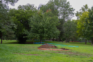 Construction is under way on the new Prairie Village disc golf course.