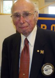 Dr. John Hollyman, 99, will be honored with the clock tower at Rotary Plaza.