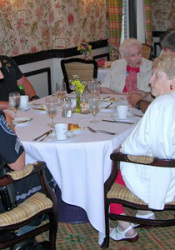 Police officers had a steak lunch at Claridge Court Thursday as part of a 9/11 observance event.