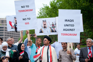 Iraqi ex-pats protest ISIS in Washington D.C. over the summer.