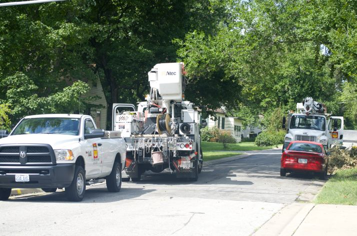 Contract crews were working in Mission late Monday morning to finish work on a downed power line that crossed 57th Street and restore power to  a large section of Mission and Roeland Park.