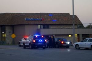 Police from Prairie Village, Overland Park and Leawood surrounded the Bank of America at 95th and Mission Wednesday evening.