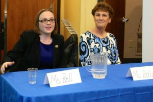 Amy Bell and Barbara Bollier fielded questions during a League of Women Voters forum Wednesday at Corinth Library. Photo by Bill Nichols