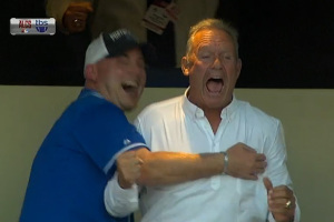 Tim Grimes, left, and George Brett celebrate after the Royals' clinched the pennant Wednesday.