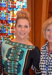 Joyce DiDonato (center) with her sister, Amy Hetherington (L) and St. Ann's principal Becky Akright after a mini-concert at St. Ann's in 2013.