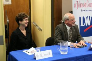 Laura McConwell and Ron Shaffer fielded questions at the Corinth Library Wednesday night. Photo by Bill Nichols