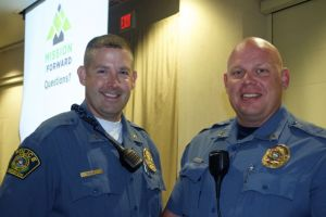 Mission Police Chief Ben Hadley and patrol division commander Capt. Lane Kirk at the Mission update breakfast Friday morning.