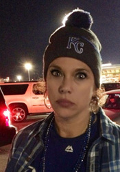 Rachel Raile in the parking lot Kauffman Stadium after the Royals loss.