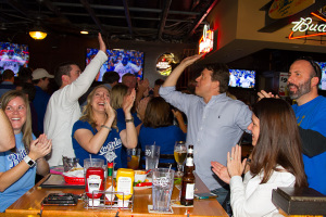 Royals fans celebrated at Johnny's Tavern in Prairie Village as the team closed in on securing its first World Series berth in 29 years.