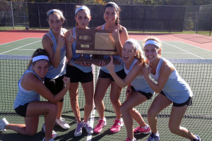 SM East's girls tennis team shows off the 2014 6A girls state title trophy. Photo courtesy Elizabeth Barnickel.