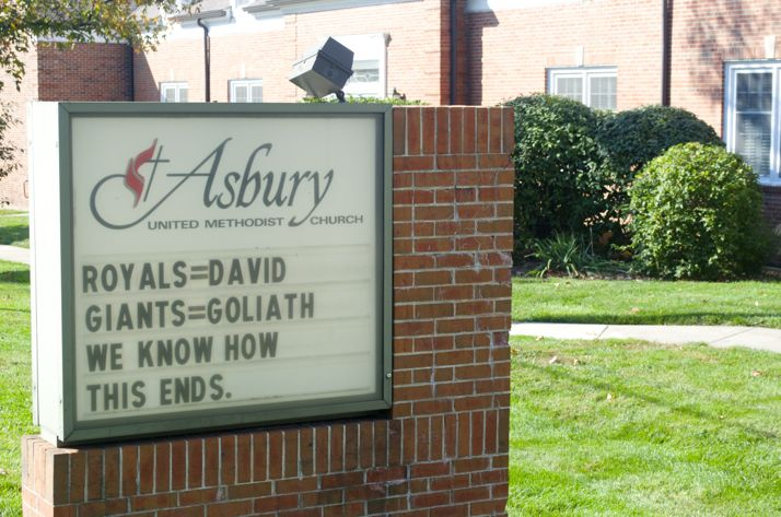 The newest Asbury sign that went up Friday afternoon.