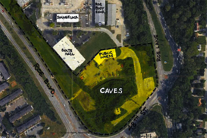 This overhead view shows the location of the caves and the pool site along Roe.