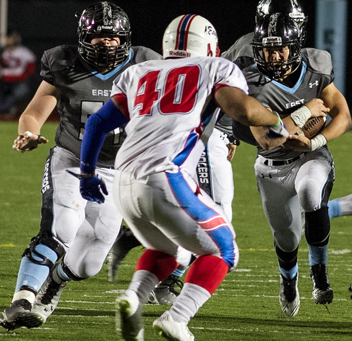 Running back Wyatt Edmisten led the Lancers in carries and scored a fourth quarter touchdown that put SM East ahead by seven.
