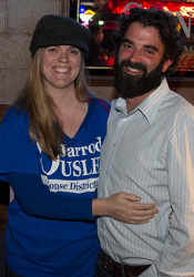 Heather and Jarrod Ousley celebrated Jarrod's election to the Kansas House at the Johnson County Democrats watch party at Lucky Brewgrille in Mission.