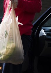 Hen House's single-use plastic bags carry a note informing patrons that they can recycle the bags by bringing them back to the store.