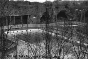 A historical picture of the Roeland Park pool on the caves site.