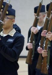 The SM North NJROTC team performs Saturday in armed regulation drill.