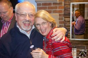 Ron Shaffer and wife, Jeannine, celebrate after hearing the final election results.