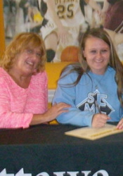 Shelby Harvey and her mother on signing day. Photo via OttawaBraves.com.