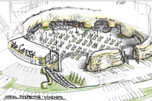 This drawing shows several retail businesses in the caves which open onto the central courtyard - site of the old pool - with one other business at the higher grade closer to Roe.